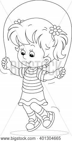 Funny Little Girl In Light Summer Clothes, Smiling And Fun Jumping Rope, Black And White Outline Vec