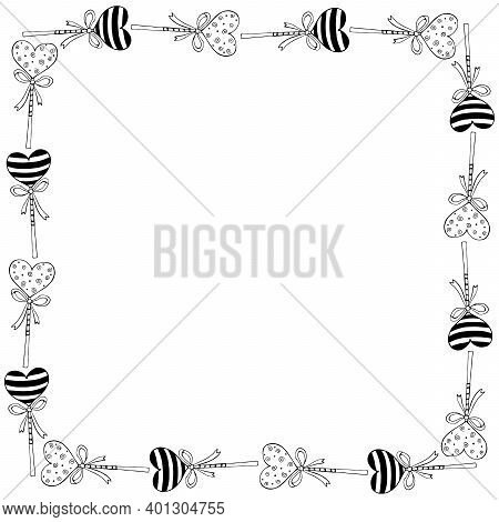 Vector Square Frame, Border From Lollipop, Gingerbread On Stick In Shape Of Heart With Bow. Backgrou