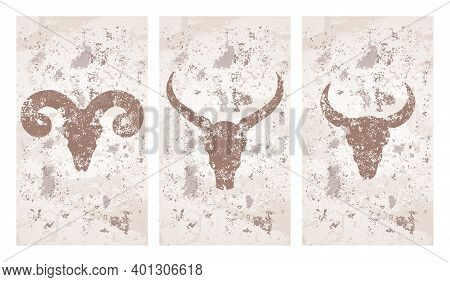 Vector Set Of Three Illustrations With Hand Drawn Silhouettes Skulls Wild Buffalo, Bull And Ram On G