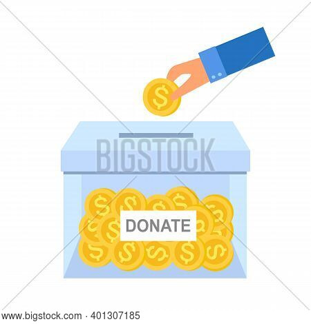 Hand Putting Money Coin In To The Donation Box In Flat Design. Time For Charity Concept Vector On Wh