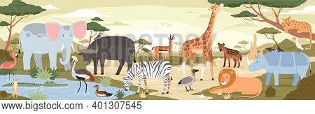 Natural Landscape With Savannah Animals, Reptiles And Birds. Panoramic Scenery With Wild Habitant. E