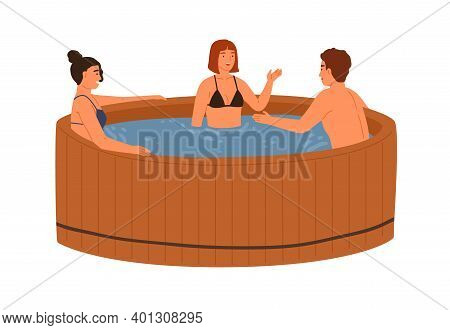 Smiling Friends Talking And Bathing At Wooden Pool Or Hot Tub Together Vector Flat Illustration. Gro