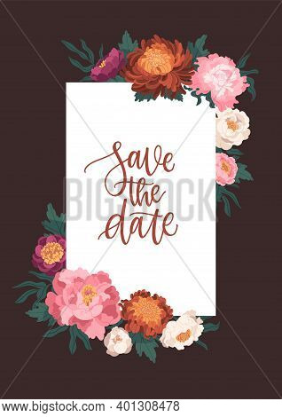 Vertical Card Template Decorated With Blooming Japanese Peonies And Chrysanthemum Vector Flat Illust