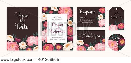 Collection Of Wedding Invitation Cards And Labels With Blooming Japanese Peonies Vector Flat Illustr