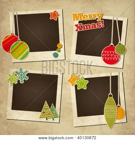 Scrap holiday vintage set of photo frames for Christmas and New Year