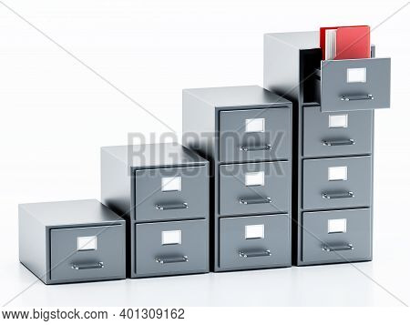 File Cabinet Isolated On White Background. 3d Illustration.