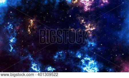Loop Aurora Galaxy Animation. Sci-fi Galaxy Fantasy Voyage Through Space. Star Field Fly Through In