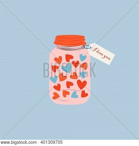 A Cute Cartoon Jar Filled With Heart. Love And Valentine's Day Concept. Hand Drawn Jar With A Love M