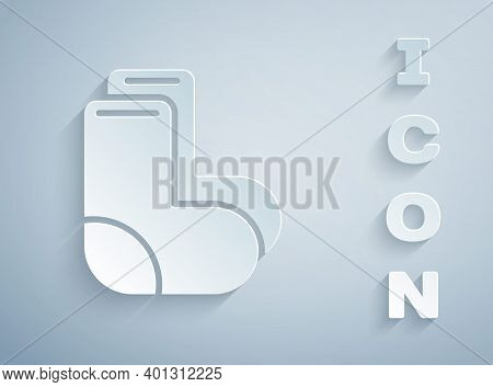 Paper Cut Valenki Icon Isolated On Grey Background. National Russian Winter Footwear. Traditional Wa