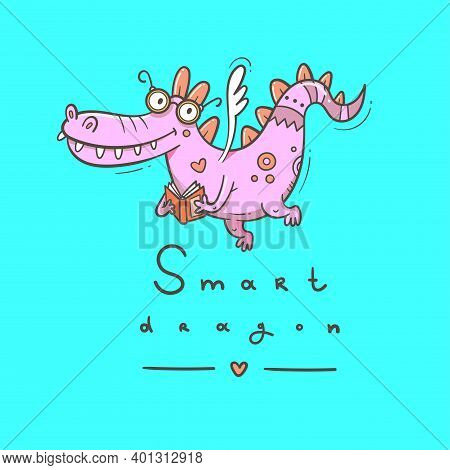Card With A Cute Smart Dragon. Funny Crocodile Print. Reading Reptile Poster. Vector Doodle Line Art