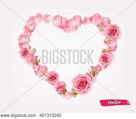 3d Realistic Isolated Rose Petal Heart For Celebration Design. Heart Shape From Petals, Buds And Ope
