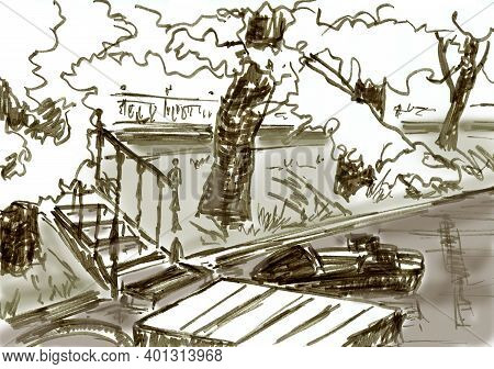 Snow-covered Bank Of A City Pond With Footbridges And A Boat, Graphic Monochrome Travel Sketch