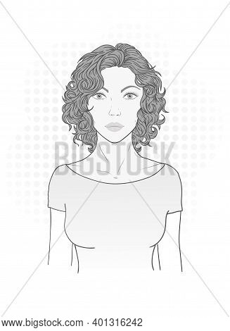 Vector Illustration Of A Beautiful Young Woman With Curly Hair On A White Background. Monochrome Ima