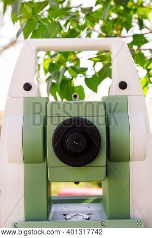 Part Of Total Station Instruments Telescope Focusing Ring. Survey Instrument Geodetic Device, Total