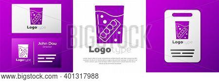 Logotype False Jaw In Glass Icon Isolated On White Background. Dental Jaw Or Dentures, False Teeth W