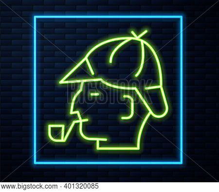Glowing Neon Line Sherlock Holmes With Smoking Pipe Icon Isolated On Brick Wall Background. Detectiv
