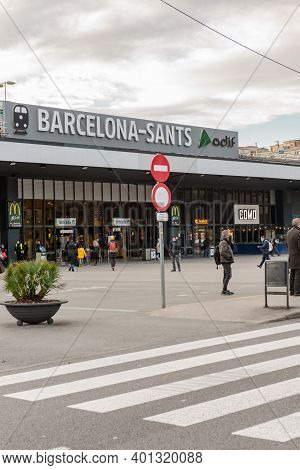 Barcelona, Spain: December 30 2020: Sants Train And Transport Station In The City Of Barcelona With