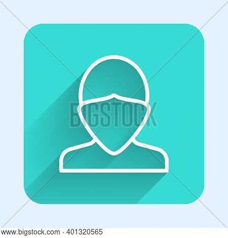 White Line Vandal Icon Isolated With Long Shadow. Green Square Button. Vector