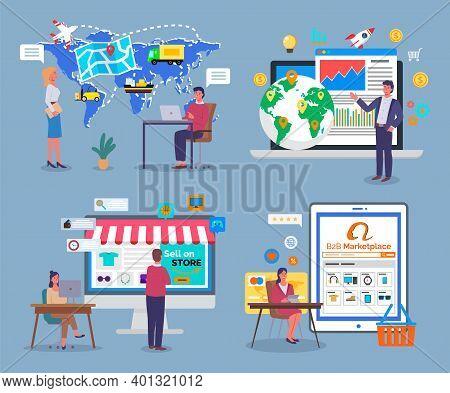 Worldwide Logistics, B2b Marketplace, Shipping And Delivery Around World, Analysing Statistics, Sell