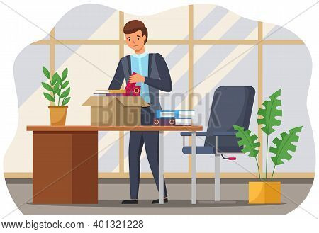 Layoff Concept. Boss Dismissed Employee. Unhappy Fired Man Leave The Office With Things In Boxes. Un