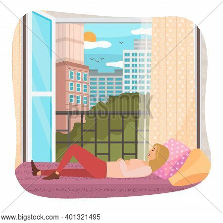 Woman Lying On The Sofa. Happy Smile Girl Relaxing. Relax On Couch And Dream Near An Open Window. Ho