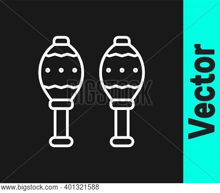 White Line Maracas Icon Isolated On Black Background. Music Maracas Instrument Mexico. Vector