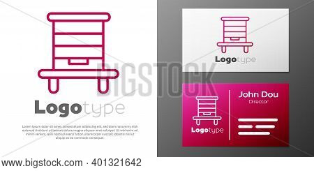 Logotype Line Hive For Bees Icon Isolated On White Background. Beehive Symbol. Apiary And Beekeeping