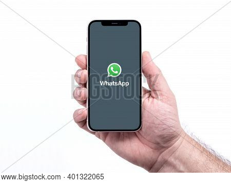 Antalya, Turkey - December 28, 2020. Iphone 12 Smart Phone Screen Showing Whatsapp Logo.