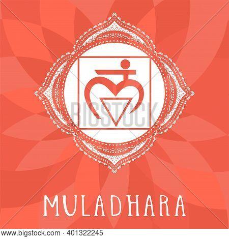 Vector Illustration With Symbol Chakra Muladhara On Abstract Background. Circle Mandala Pattern And