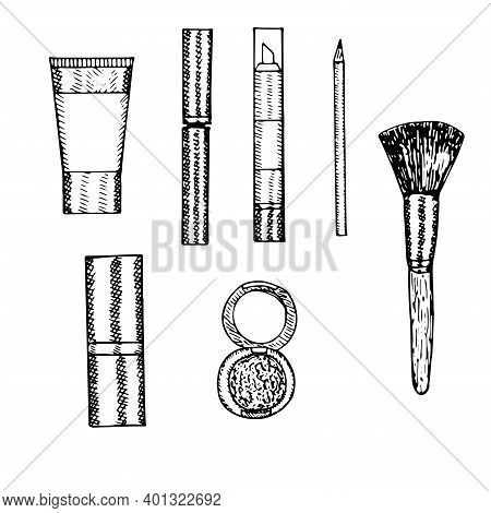 Set Of Decorative Cosmetics Tube Of Foundation Mascara, Concealer Pencil Lipstick Eye Shadow And Mak