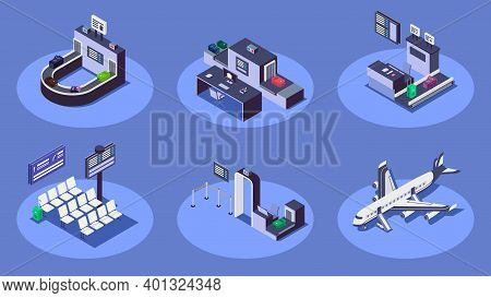 Airport Isometric Color Vector Illustrations Set. Modern Airline Company Services 3d Concept Isolate