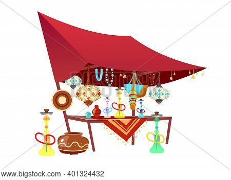 Eastern Market Tent With Souvenirs Cartoon Vector Illustration. Oriental Bazaar Awning With Hookahs,