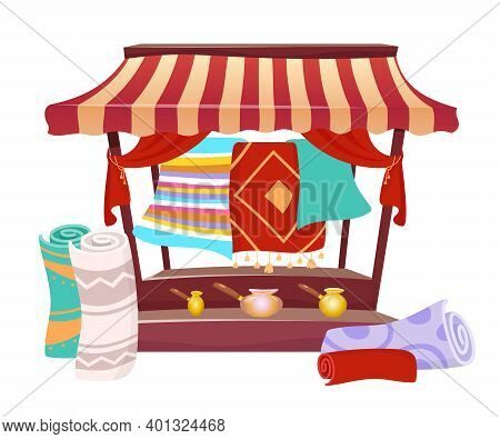 Bazaar Trade Awning With Handmade Carpets Cartoon Vector Illustration. Eastern Marketplace Tent, Can
