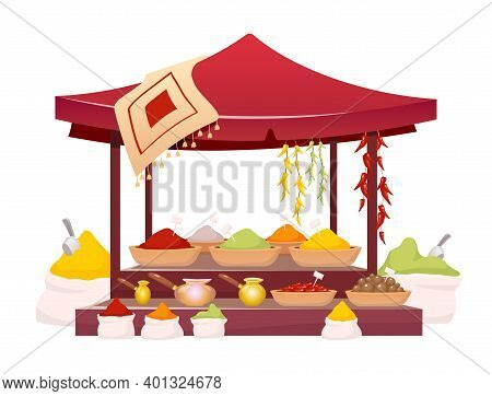 Indian Bazaar Tent With Cartoon Vector Illustration. Thailand Market Awning With Exotic Seasoning, T