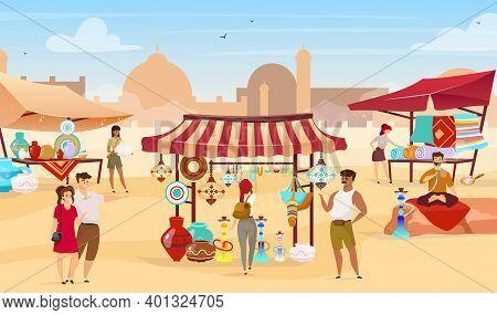 Egyptian Bazaar Flat Vector Illustration. Muslim Vendors At Eastern Marketplace. Tourists Choosing S