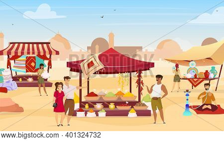 Arabic Bazaar Flat Color Vector Illustration. Tourists At Turkish Marketplace With Trade Awnings. Tr