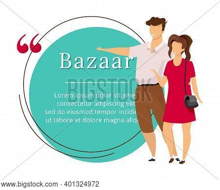 Bazaar Buyers Flat Color Vector Character Quote. Oriental Market, Fair, Marketplace Review. Citation