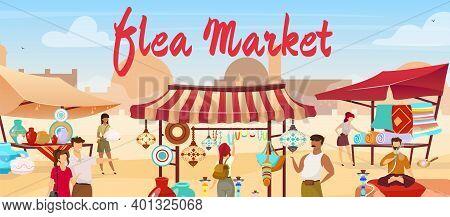 Flea Market Flat Vector Illustration. Arabic Marketplace, Egypt, Istanbul Traditional Bazaar. Vendor