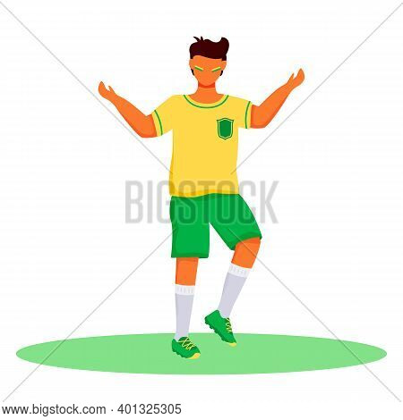 Football Fan Flat Color Vector Faceless Character. Standing Teenager With Brazilian Flag Colors Stri