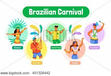 Brazilian Carnival Flat Color Vector Informational Infographic Template. Dancer. Poster, Booklet, Pp