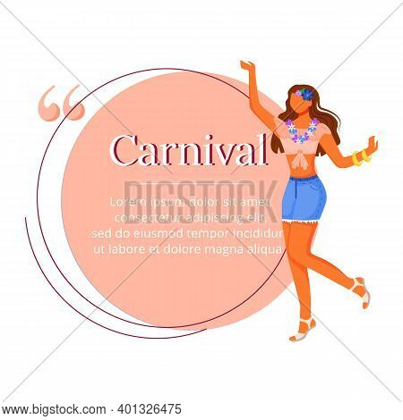 Carnival Flat Color Vector Character Quote. Standing Latino Woman. Brazilian Festival. Female In Flo
