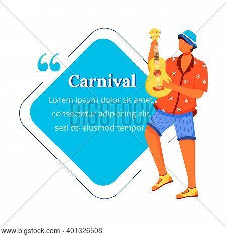 Carnival Flat Color Vector Character Quote. Traditional Music. Latino Man In Shirt And Shorts. Samba