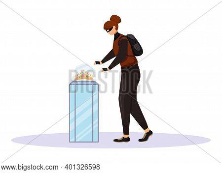 Jewelry Store Robbery Flat Color Vector Faceless Character. Jewellery Shop Burglary. Female Burglar