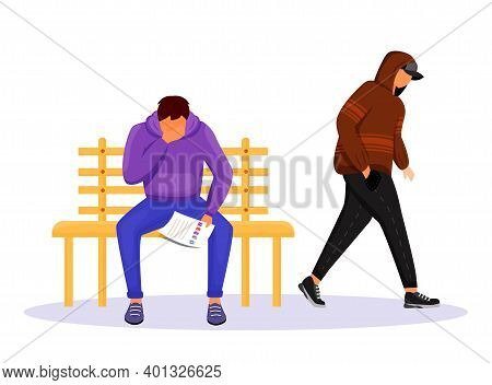 Blackmailing Flat Color Vector Faceless Character. Blackmail Threat. Man Reading Letter With Demands