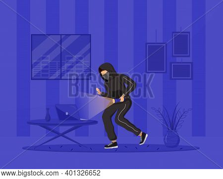 Home Invasion Flat Color Vector Illustration. House Thief. Burglar With Flashlight Breaking In Apart