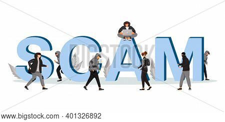 Scam Word Concepts Flat Color Vector Banner. Theft And Burglary. Street Robbery. Isolated Typography