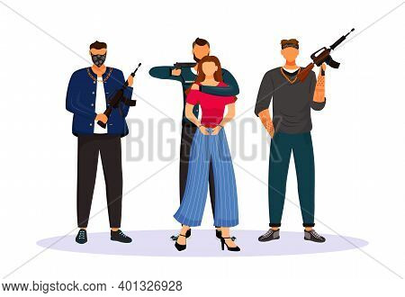 Criminal Grouping With Tied Hostage Flat Color Vector Faceless Character. Woman Seized By Armed Gang