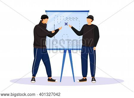Two Men Planning Criminal Act Flat Color Vector Faceless Character. Criminals Preparing For Attack.