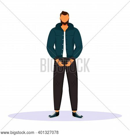 Man In Handcuffs Flat Color Vector Faceless Character. Prisoner, Suspect. Guy Accused Of Committing