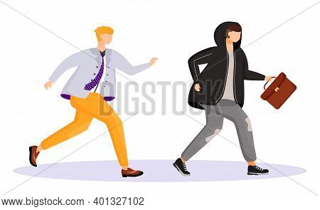 Street Theft Flat Color Vector Faceless Character. Thief Stealing Mans Briefcase. Man Running After